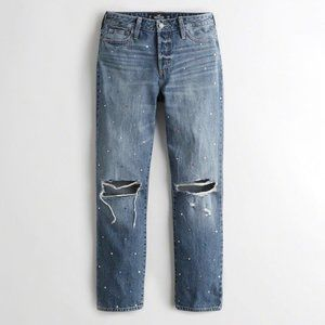 Hollister High Rise Straight Embellished Jeans